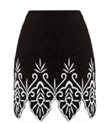 Black Contrast White Embroidered Scalloped Hem Resort Skirt