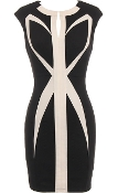 Short Black Beige Geometric Paneled Rear Zip Bodycon Dress