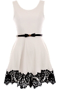 White Contrast Lace Applique Belted Skater Dress