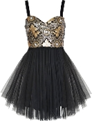 Metallic Gold Sequin Sweetheart Black Mesh Tulle Short Skater Dress