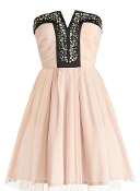 Blush Pink Embellished Strapless A-Line Homecoming Dress