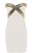 White Gold Sequin Accent Strapless Sweetheart Bodycon Party Dress