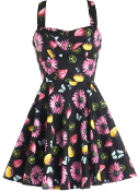Vintage Strawberry Lemon Butterfly Floral Fruit Print A-Line Dress