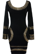 Black Long Sleeve Gold Metal Trinket Embellished Bodycon Dress In Style Of Kim Kardashian