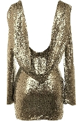Gold Sequin Sling Neck Open-Back New Year's Eve Party Dress