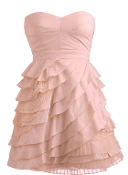 Strapless Pink Sweetheart Empire Waist Layered Ruffled Homecoming Dress