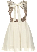 Ivory Gold Sequin Bodice Open Back Fit-And-Flare Wedding Guest Dress