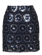 Navy Blue Sequin Embellished Short Party Skirt