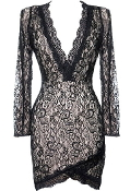 Black Lace Long-Sleeve Plunge Neck Short Bodycon Dress