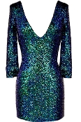 Sparkling Green Deep V-Neck Holiday Sequin Glitter Bodycon Dress