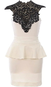 White Black Crochet Lace Neck Peplum Waist Short Bodycon Dress