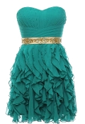 Strapless Green Empire Waist Sweetheart Neck Short Ruffled Bridesmaid Dress
