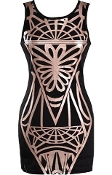Black Tan Metallic Geometric Applique LBD Bodycon Dress