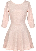 Light Pink Textured Half-Sleeve Short Fit-And-Flare Casual Skater Dress