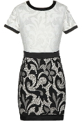 White Black Lace Short Sleeve Fitted Cocktail Bodycon Dress