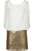 White Chiffon Sleeveless Gold Sequin Skirt Party Dress