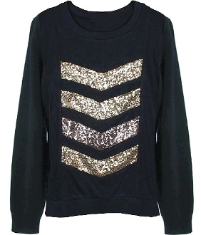 Black Gold Sequin Striped Chevron Designer Knit Sweater Top