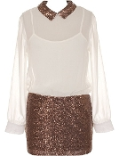 Women's Long Sleeve Ivory Chiffon Bronze Sequin Peter Pan Collar Dress