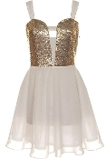 White Gold Sequin Sweetheart Bust Fit-And-Flare Chiffon Skater Dress