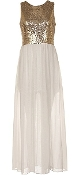 Gold Sequin White Chiffon Maxi Dress Long Bridesmaid Gown