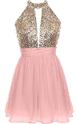 Pink Gold Sequin Halter Neck Short Chiffon Skater Dress
