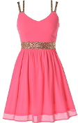 Neon Pink Chiffon Gold Sequin Strap Fit-And-Flare Skater Dress