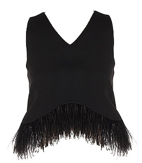 Women's Black V-Neck Fringe Trimmed Crop Top