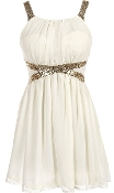 White Gold Sequin Shoulder Strap Glitter Waist Short Chiffon Juniors Party Dress
