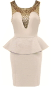 Beige Gold Sequin Sweetheart Neck Peplum Waist Bodycon Dress