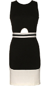 Sleeveless Black Ivory Keyhole Cutout Geometric Bodycon Dress