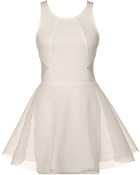 White Sleeveless Silk Chiffon Short Fit And Flare Skater Dress