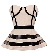 Strapless Beige Sweetheart Contrast Mesh Striped Peplum Top