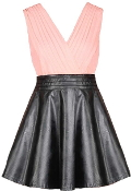 Coral Pink Chiffon Double V-Neck Black Vegan Leather Skater Dress