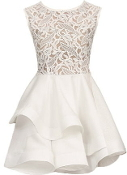 Sleeveless White Lace Embroidered Crochet Bodice Tiered Skater Dress