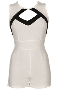 White Black Cut Out Short Juniors Romper For Teens