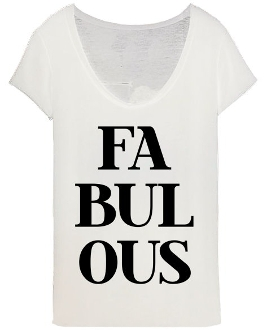 White Scoop Neck Fabulous Graphic Print Cap Sleeve Women's T-Shirt