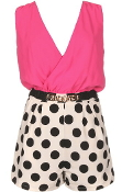 Fuchsia Pink Double V-Neck Belted Polka Dot Romper