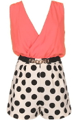 Coral Double V-Neck Vintage Belted Polka Dot Romper