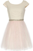 Ivory Cap Sleeve Embellished Waist Pink Mesh Skirt Bridesmaid Dress