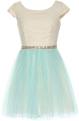 Ivory Cap Sleeve Embellished Waist Baby Blue Mesh Skirt Bridesmaid Dress