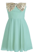 Strapless Diamond Bow-Embellished Short Mint Green Chiffon Homecoming Dress