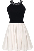Black White Jewel Neck Bow-Back Fit-And-Flare Skater Dress