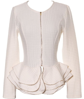 Women's Ivory Tiered Peplum Hem Quilted Blazer with Gold Zipper Trim