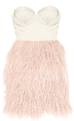 Strapless Pink Satin Sweetheart Ostrich Feather Teen Prom Dress