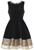 Black Gold Metallic Hem Fit-And-Flare New Year's Party Dress