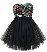 Strapless Black Mesh Tutu Sequin Embellished Sweetheart Prom Dress
