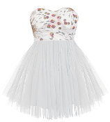 Strapless White Sequin Sweetheart Bodice Tulle Skirt Homecoming Dress