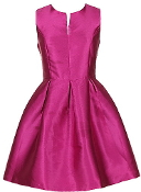 Fuchsia Pink Satin Fit-And-Flare Mid-Length Homecoming Dress