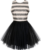 Black White Sequin Striped Mesh Tutu Hem Party Dress