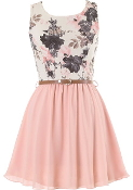 Sleeveless Floral Print Belted Peach Chiffon Casual Skater Dress